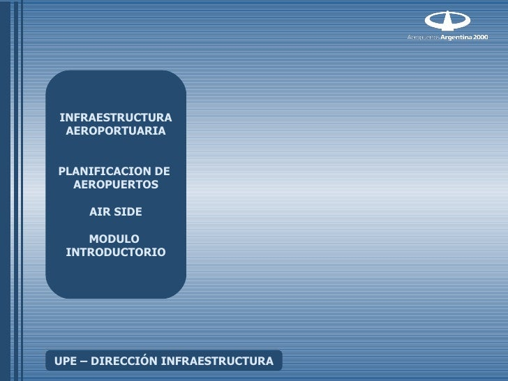 INFRAESTRUCTURA AEROPORTUARIAPLANIFICACION DE  AEROPUERTOS    AIR SIDE    MODULO INTRODUCTORIOUPE – DIRECCIÓN INFRAESTRUCT...