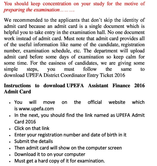 Upefa exam 2016 admit card district coordinator jobs entry ticket and result