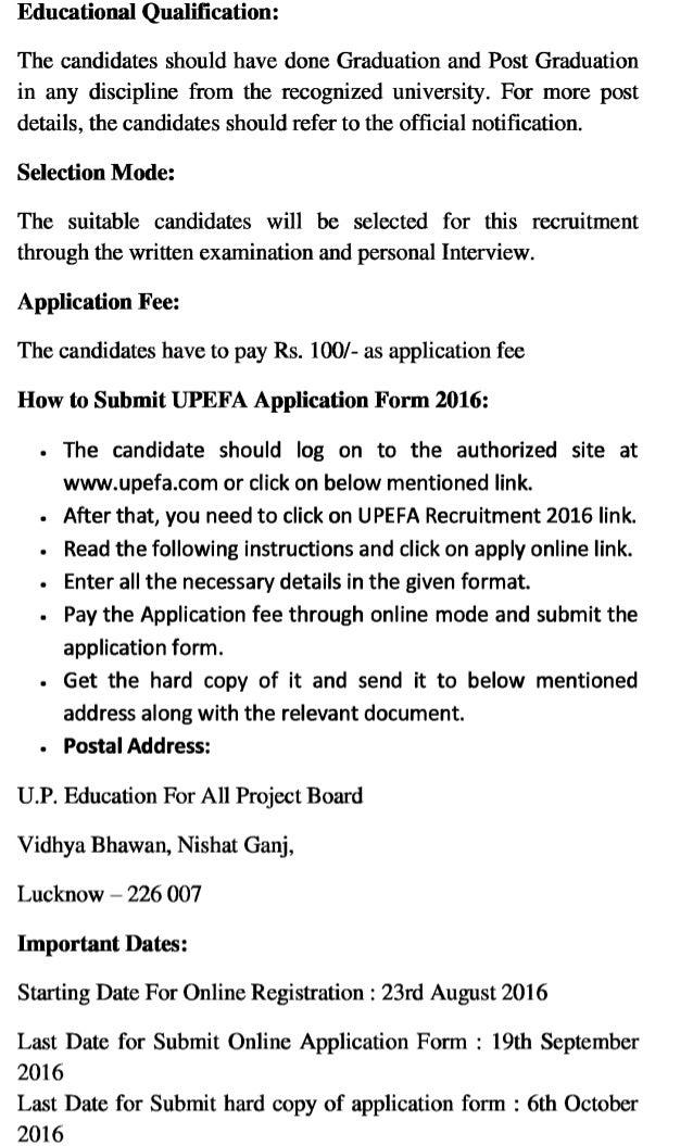 Upefa govt job recruitment 2016 latest district coordinator and other vacancies exam result