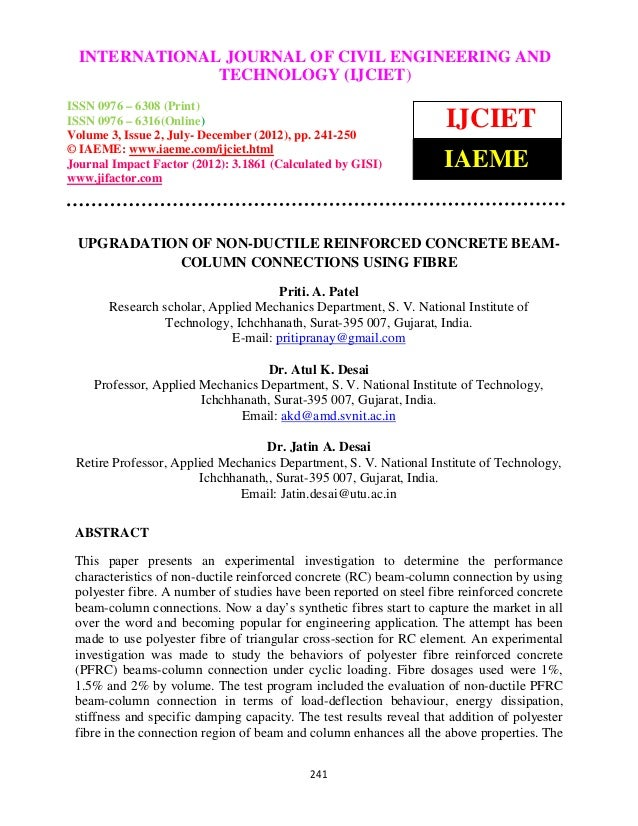 Upgradation of non ductile reinforced concrete beamcolumn connections using fibre