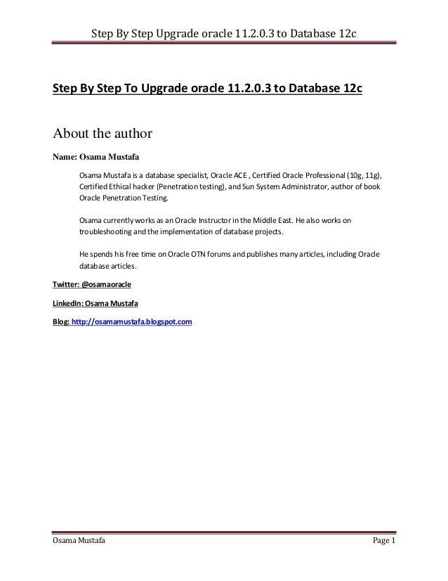 Upgrade Oracle Database to 12c