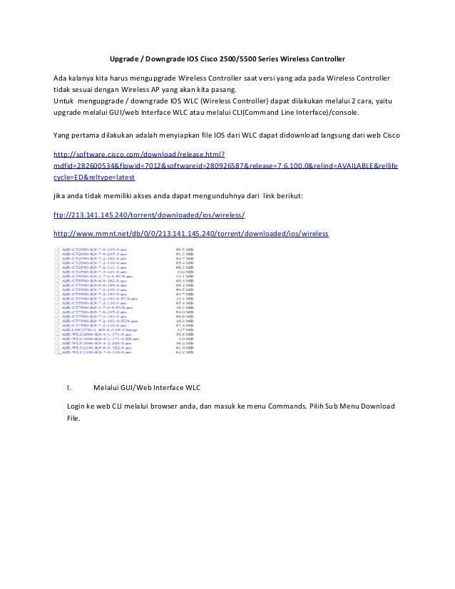Upgrade dan Downgrade IOS Cisco 2500/5500 Series Wireless Controller