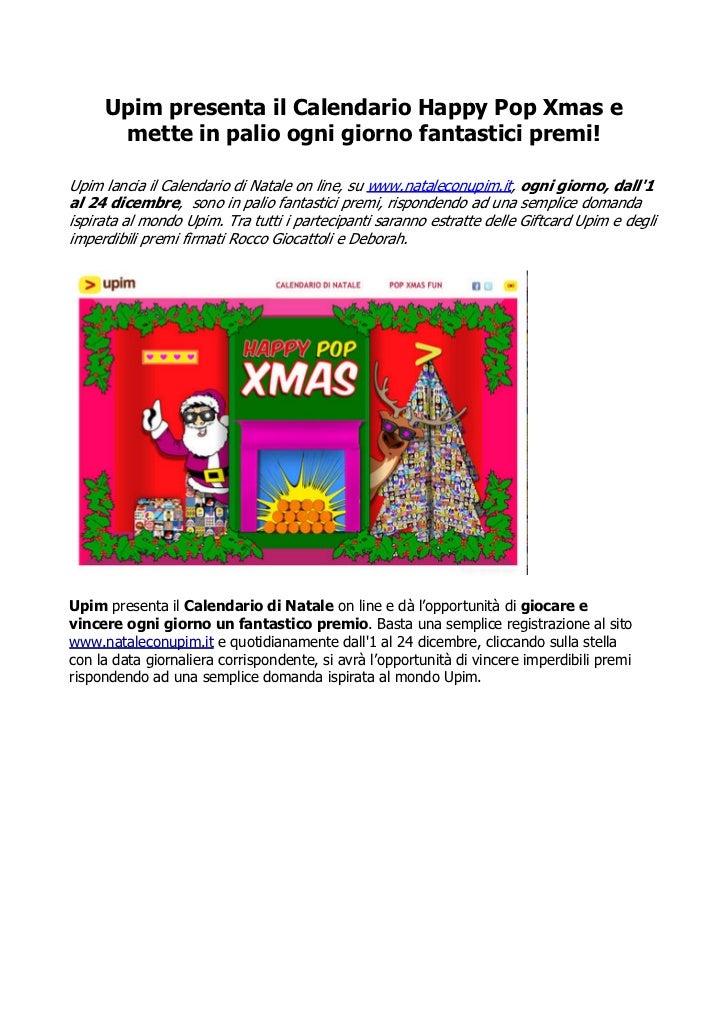 Natale con Upim, Calendario Happy Pop Xmas