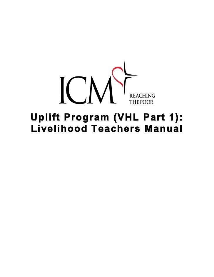 Uplift Program (VHL Part 1): Livelihood Teachers Manual