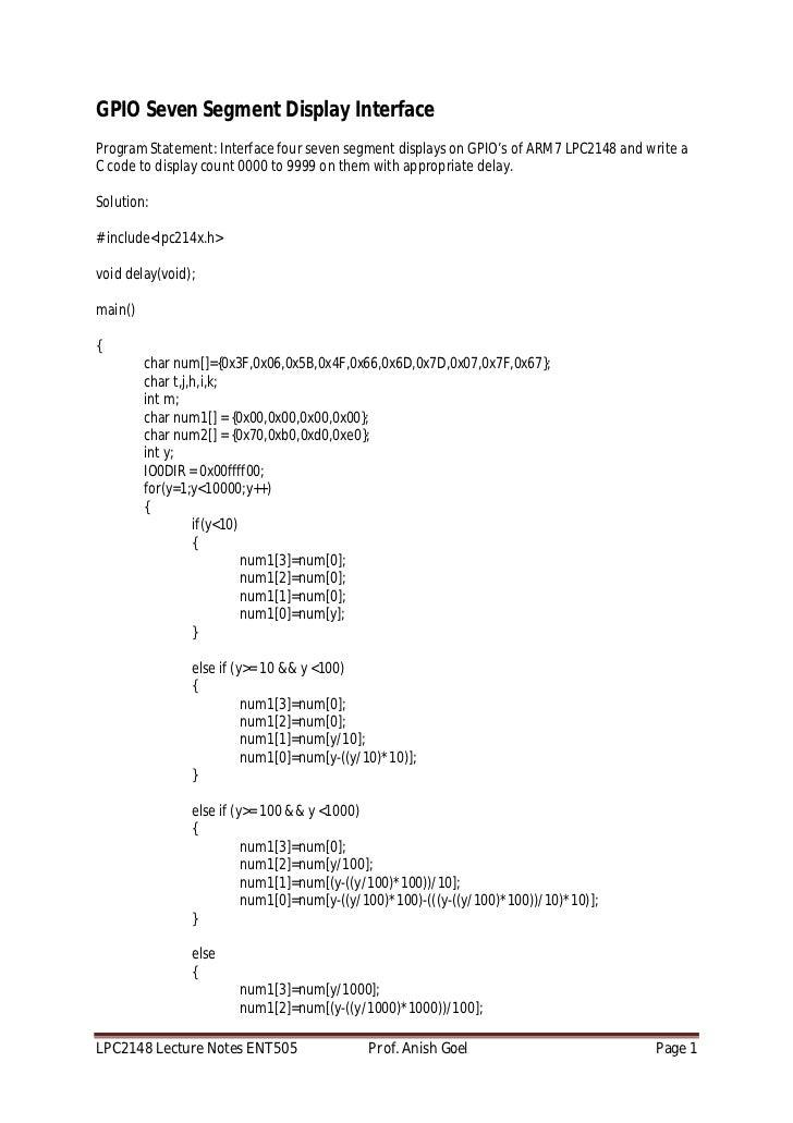 ARM 7 LPC 2148 lecture