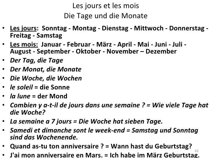 les jours de la semaine en allemand pdf