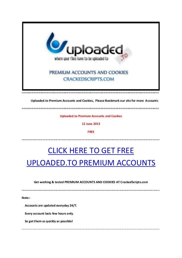 Uploaded.to Premium Accounts 12 June 2013