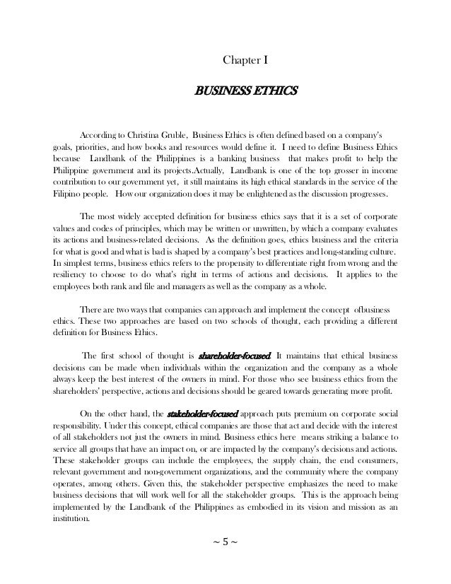 Business ethics and research paper