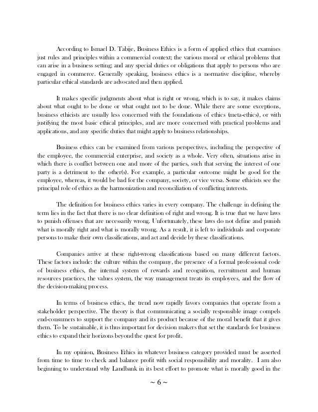 Business ethics term paper