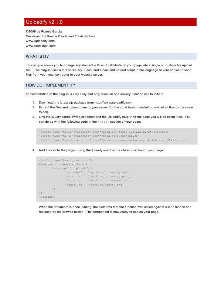 Uploadify v2.1.0 manual