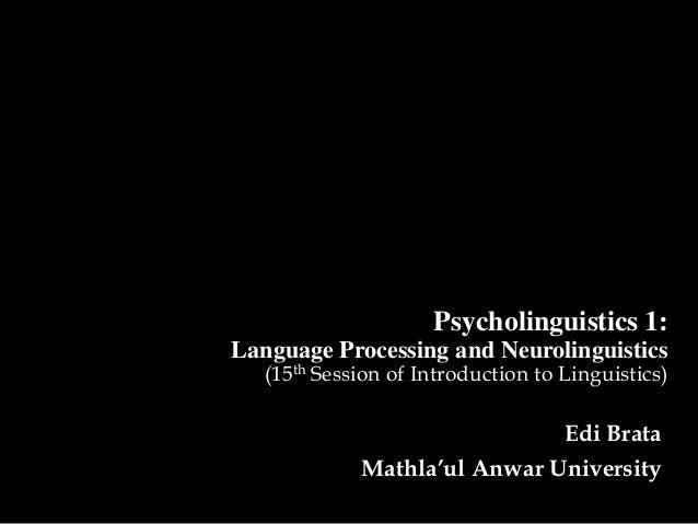 Psycholinguistics 1:Language Processing and Neurolinguistics   (15th Session of Introduction to Linguistics)              ...
