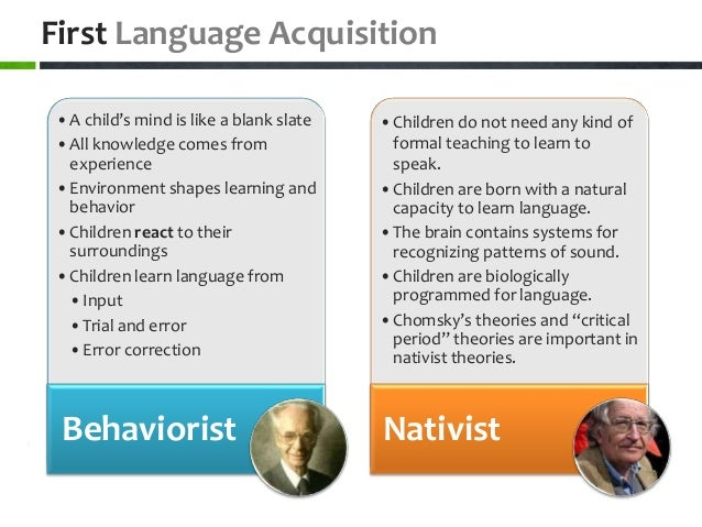 compare and contrast language acquisition theories Compare and contrast the theories and basic treatment models of albert ellis acquisition language essay major compare and contrast two theories and aaron t 10-3-2018 theories of language acquisition which emphasize the role of imitation, reinforcement, inheritance, and the active involvement d animation names in film essays of the child.