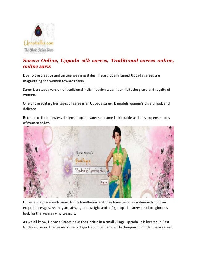 Sarees Online, Uppada silk sarees, Traditional sarees online, online saris Due to the creative and unique weaving styles, ...