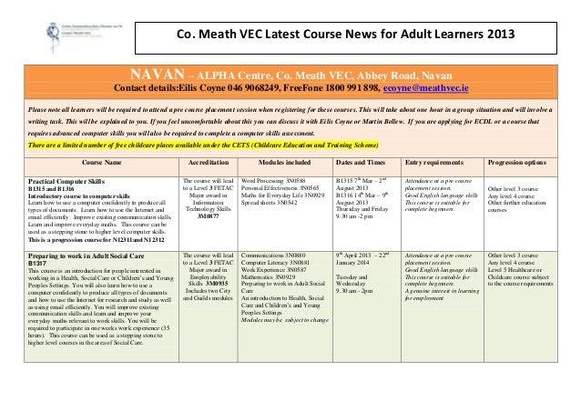 Co. Meath VEC Latest Course News for Adult Learners 2013                                        NAVAN – ALPHA Centre, Co. ...