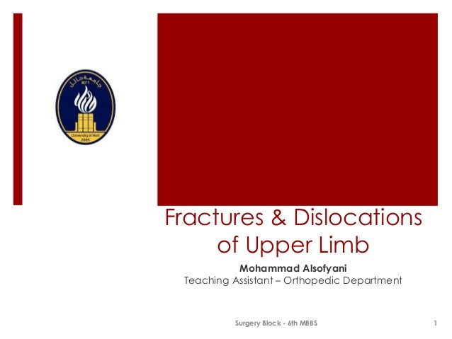 Fractures & Dislocations of Upper Limb Mohammad Alsofyani Teaching Assistant – Orthopedic Department  Surgery Block - 6th ...