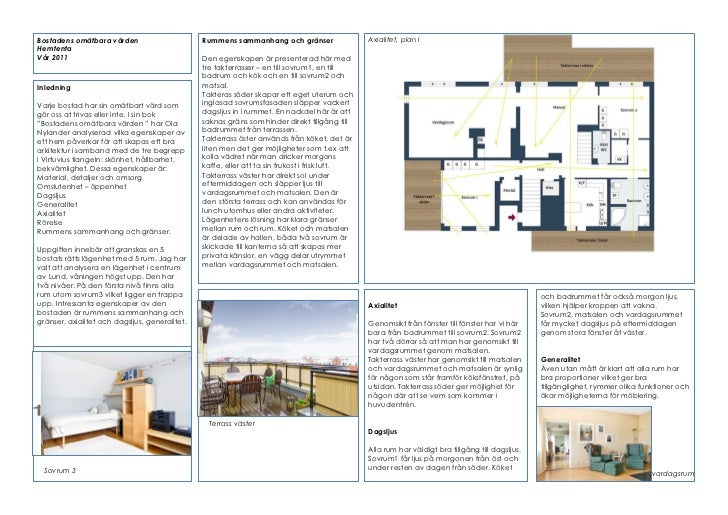 4321    Bostadens omätbara värden                       Rummens sammanhang och gränser                  Axialitet, plan I ...