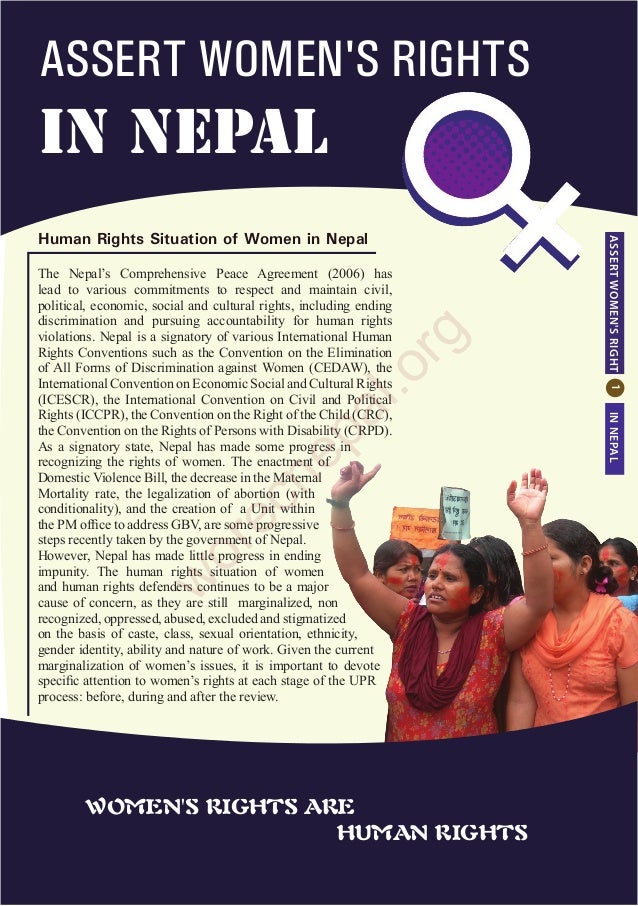 Human Rights Situation of Women in Nepal ASSERTWOMEN'SRIGHTINNEPAL ASSERT WOMEN'S RIGHTS in NEPAL The Nepal's Comprehensiv...