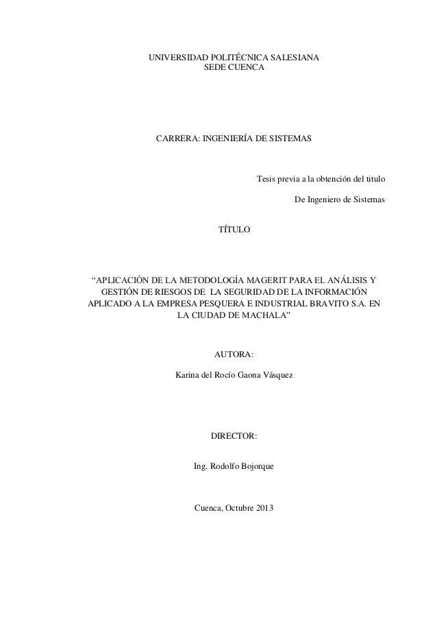 UNIVERSIDAD POLITÉCNICA SALESIANA SEDE CUENCA CARRERA: INGENIERÍA DE SISTEMAS Tesis previa a la obtención del titulo De In...