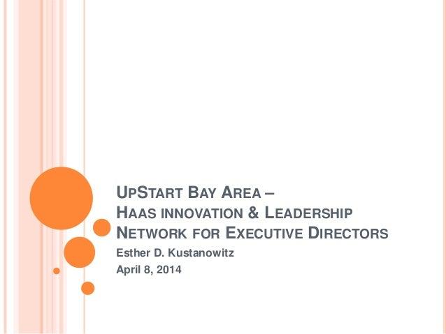 UPSTART BAY AREA – HAAS INNOVATION & LEADERSHIP NETWORK FOR EXECUTIVE DIRECTORS Esther D. Kustanowitz April 8, 2014