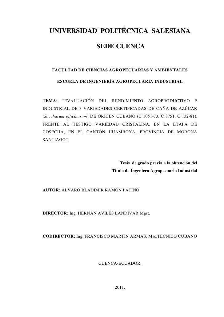 UNIVERSIDAD POLITÉCNICA SALESIANA                        SEDE CUENCA1   CARATULA    FACULTAD DE CIENCIAS AGROPECUARIAS Y A...
