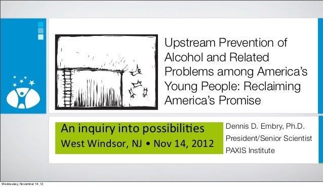 Upstream alcohol prevention rowan university