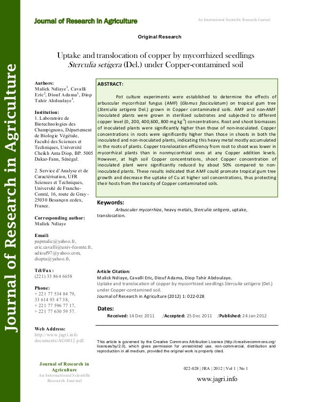 Uptake and translocation of copper by mycorrhized seedlings Sterculia setigera (Del.) under Copper-contamined soil Keyword...