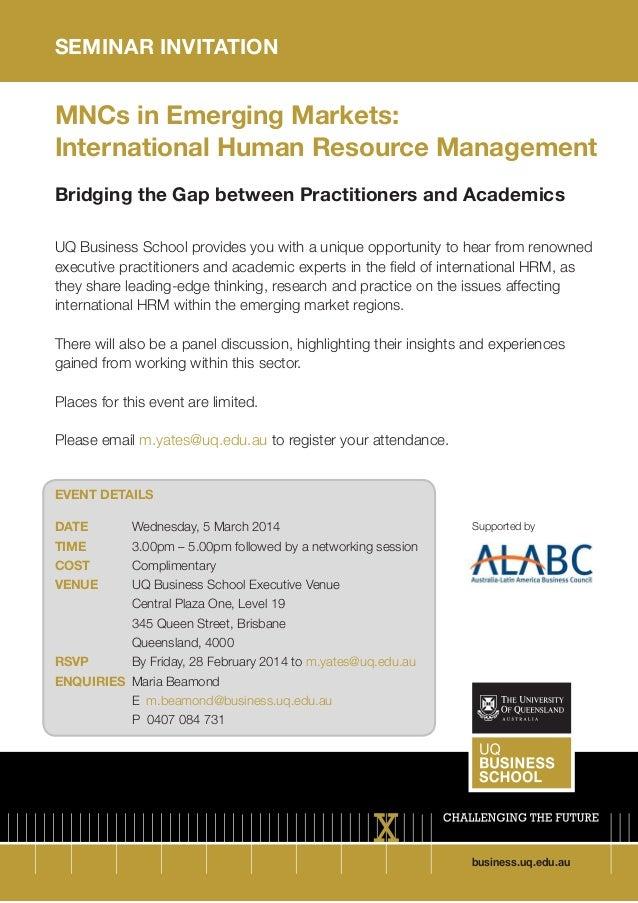 Seminar Invitation to UQ BS Event:  MNCs in Emerging Markets: International Human Resource Management