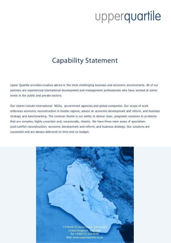 Uq capability statement   iraq - july 2010