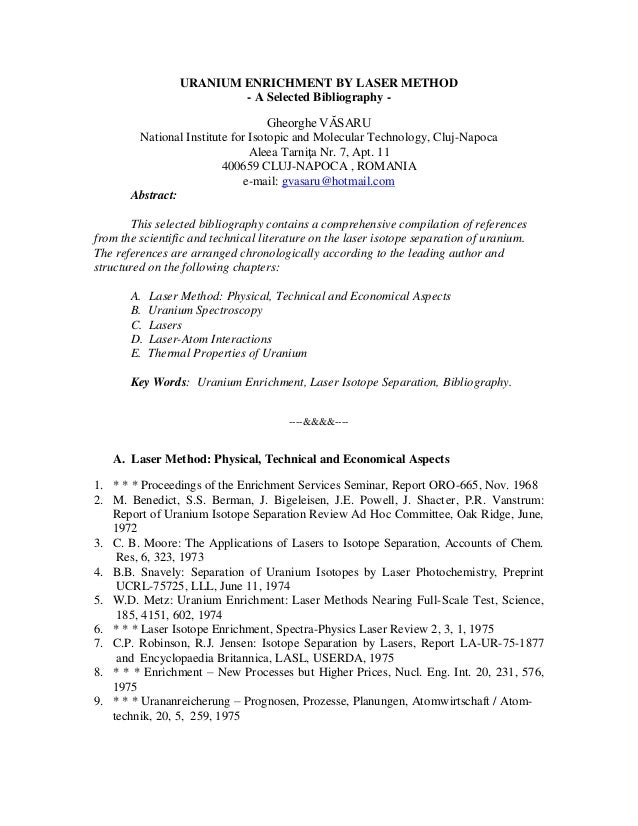 Uranium enrichment by laser method   a selected bibliography