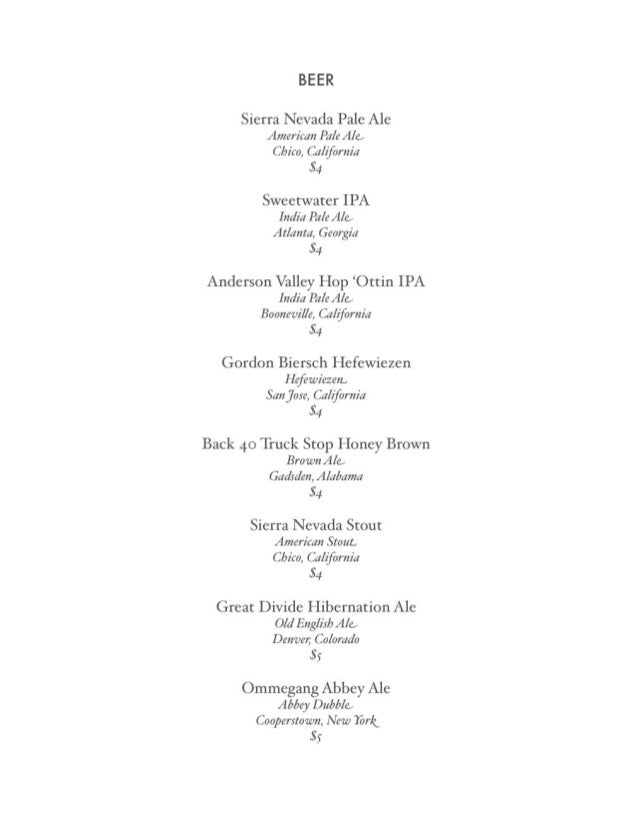 Urban Standard - 2010 beer/wine menu