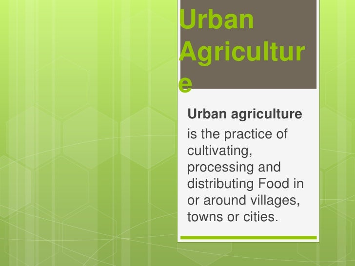 Urban Agriculture<br />Urban agriculture<br />is the practice of cultivating, processing and distributing Food in or aroun...