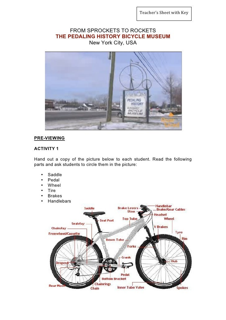 Teacher'sSheetwithKey                   FROM SPROCKETS TO ROCKETS           THE PEDALING HISTORY BICYCLE MUSEUM       ...