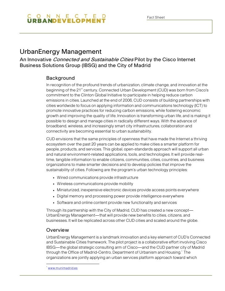 Fact Sheet     UrbanEnergy Management An Innovative Connected and Sustainable Cities Pilot by the Cisco Internet Business ...