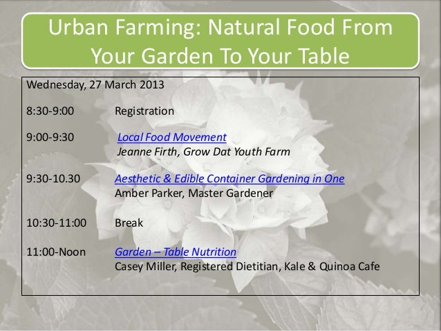 Urban Farming: Natural Food From       Your Garden To Your TableWednesday, 27 March 20138:30-9:00      Registration9:00-9:...