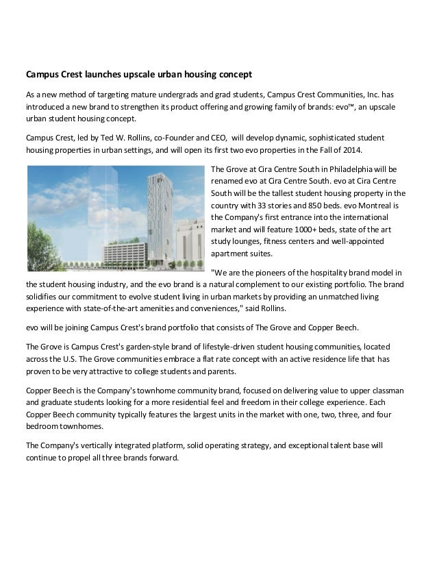 Campus Crest launches upscale urban housing concept As a new method of targeting mature undergrads and grad students, Camp...
