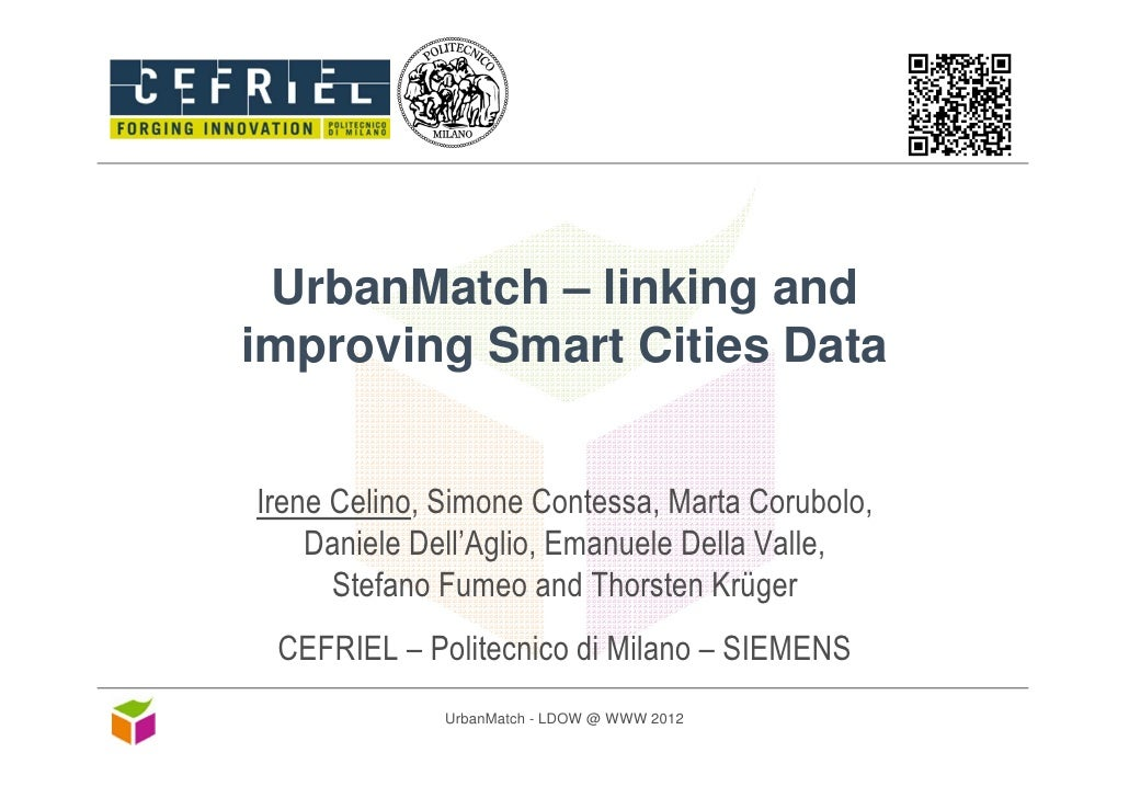 UrbanMatch - linking and improving Smart Cities Data