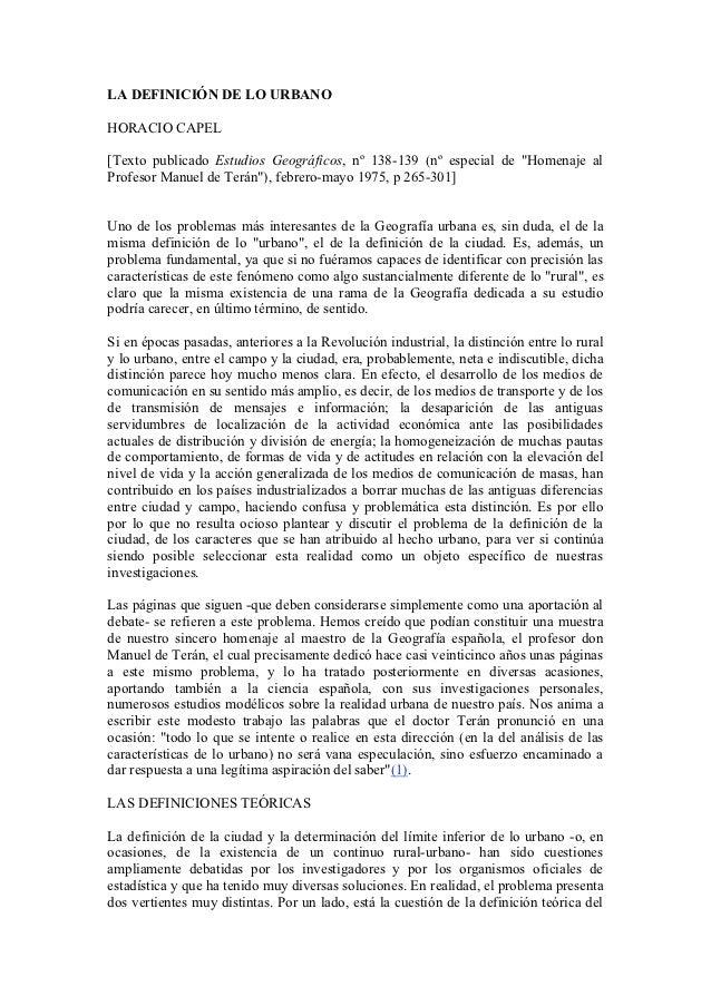 """LA DEFINICIÓN DE LO URBANOHORACIO CAPEL[Texto publicado Estudios Geográficos, nº 138-139 (nº especial de """"Homenaje alProfe..."""