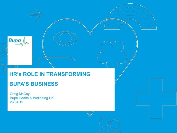 HR's ROLE IN TRANSFORMINGBUPA'S BUSINESSCraig McCoyBupa Health & Wellbeing UK26.04.12                             1