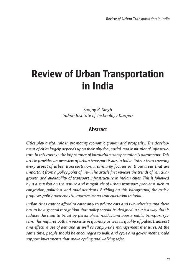 Review of Urban Transportation in India   Review of Urban Transportation              in India                            ...