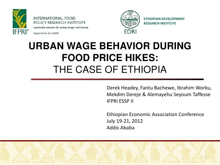 Urban wages  food prices in ethiopia