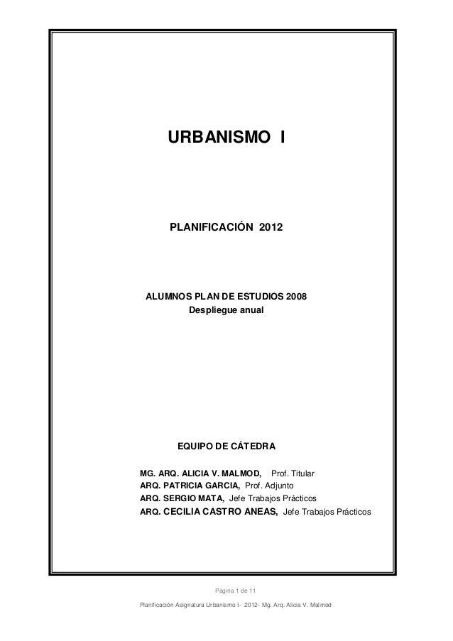 URBANISMO I          PLANIFICACIÓN 2012  ALUMNOS PLAN DE ESTUDIOS 2008        Despliegue anual             EQUIPO DE CÁTED...