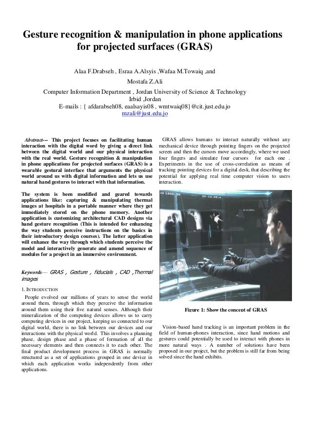 Gesture recognition & manipulation in phone applications           for projected surfaces (GRAS)                         A...