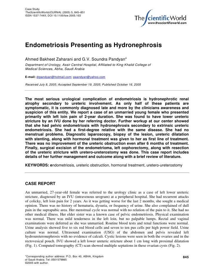 Case StudyTheScientificWorldJOURNAL (2005) 5, 845–851ISSN 1537-744X; DOI 10.1100/tsw.2005.103Endometriosis Presenting as H...