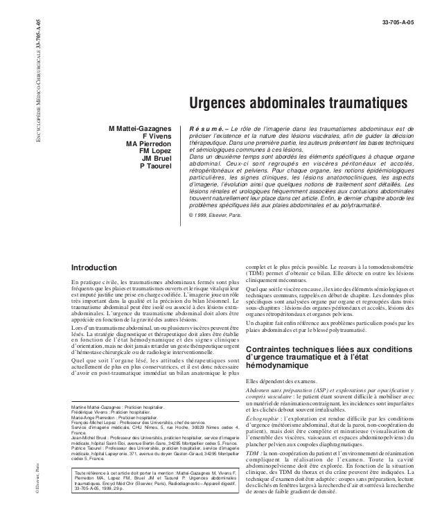 33-705-A-05  Urgences abdominales traumatiques  M Mattei-Gazagnes  F Vivens  MA Pierredon  FM Lopez  JM Bruel  P Taourel  ...