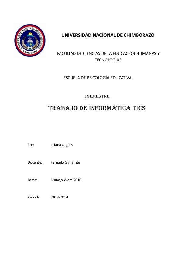 UNIVERSIDAD NACIONAL DE CHIMBORAZO  FACULTAD DE CIENCIAS DE LA EDUCACIÓN HUMANAS Y TECNOLOGÍAS  ESCUELA DE PSICOLOGÍA EDUC...