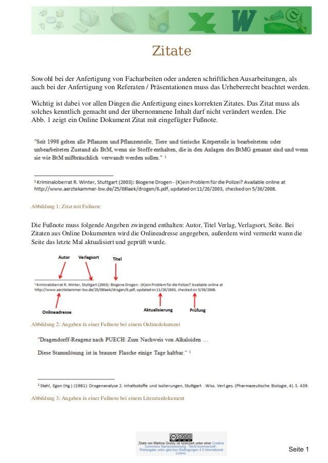 Abbildung 1: Zitat mit Fußnote Abbildung 2: Angaben in einer Fußnote bei einem Onlinedokument Zitate Sowohl bei der Anfert...