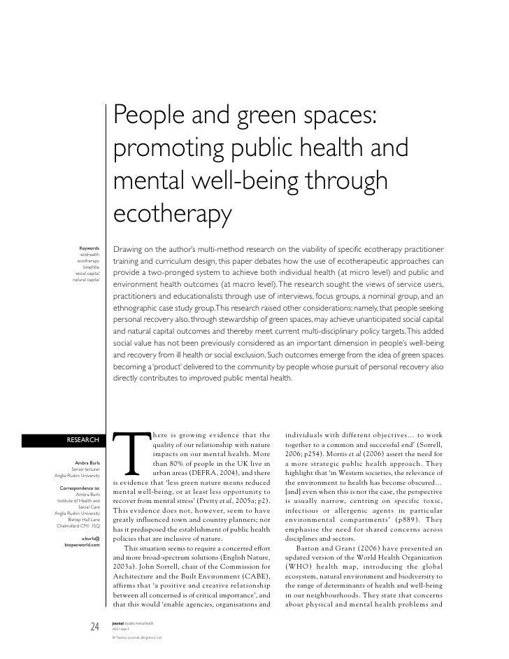People and green spaces:                            promoting public health and                            mental well-bei...
