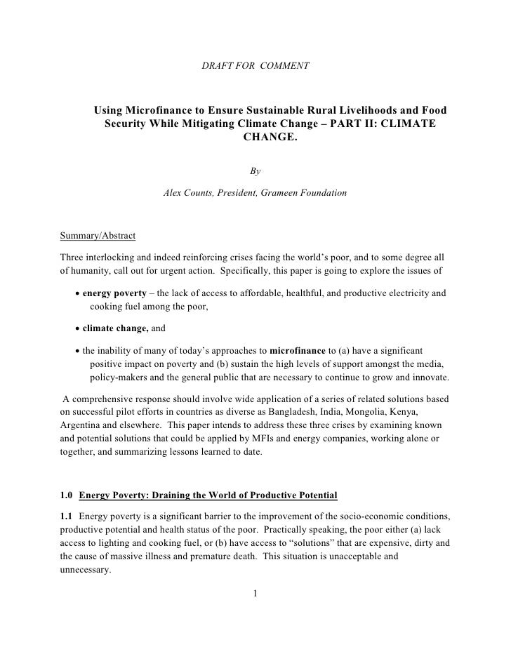 DRAFT FOR COMMENT        Using Microfinance to Ensure Sustainable Rural Livelihoods and Food          Security While Mitig...