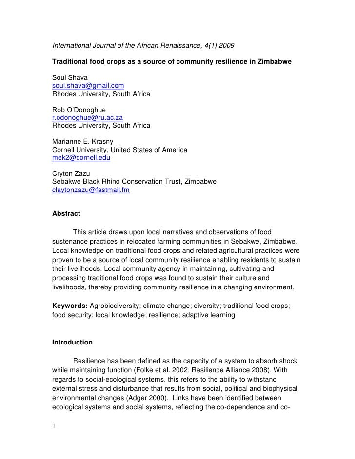 International Journal of the African Renaissance, 4(1) 2009Traditional food crops as a source of community resilience in Z...