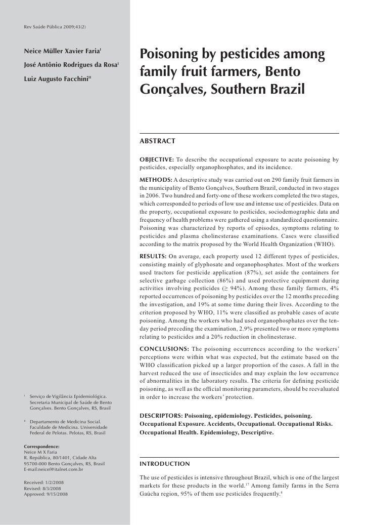 Rev Saúde Pública 2009;43(2)Neice Müller Xavier FariaI                                               Poisoning by pesticid...